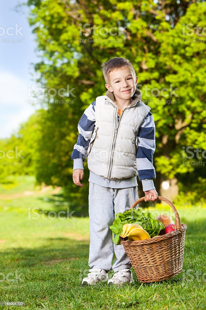 Happy little boy with picnic basket outdoors royalty-free stock photo