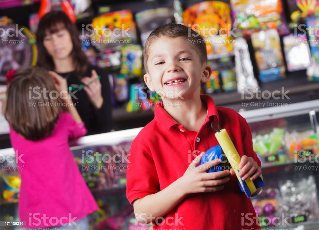 Happy Little Boy with Prizes stock photo