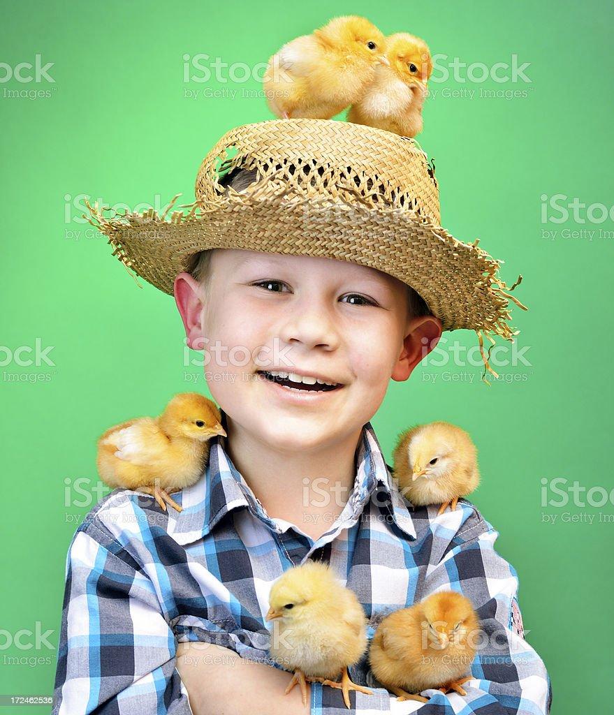 Happy little farmer royalty-free stock photo