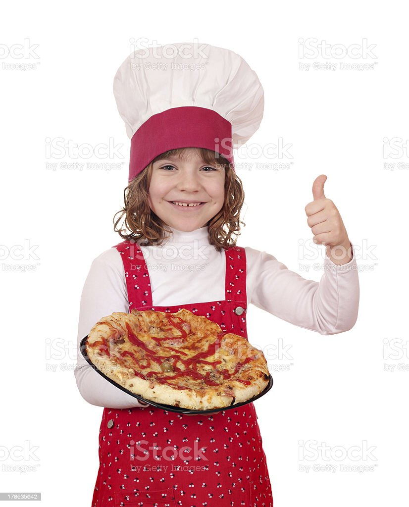 happy little girl cook with pizza royalty-free stock photo