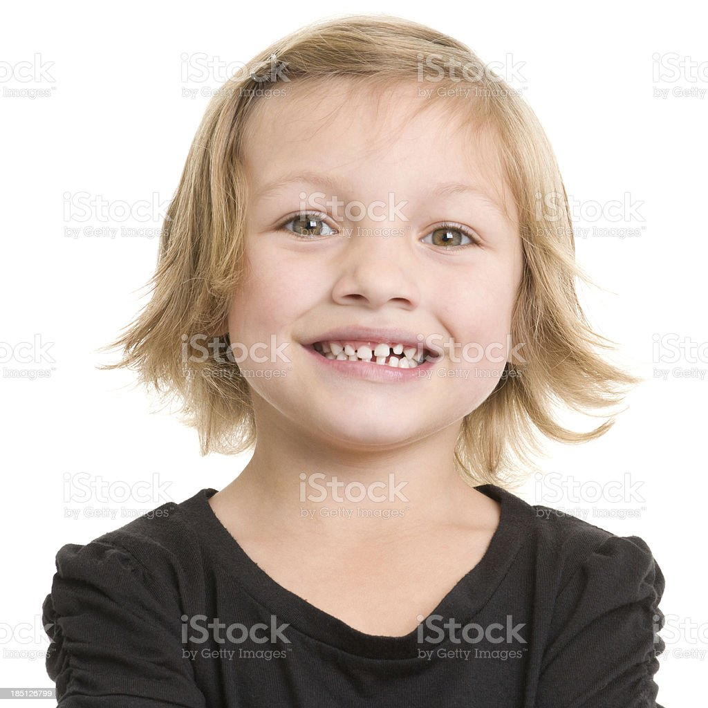 Happy Little Girl Headshot Portrait stock photo