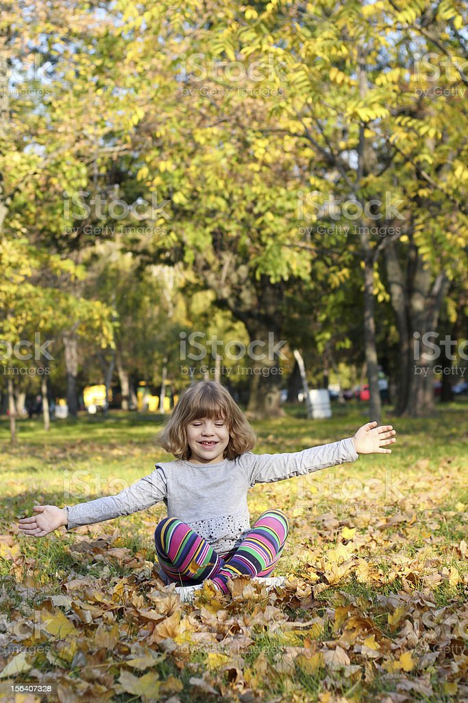 happy little girl in autumn park royalty-free stock photo