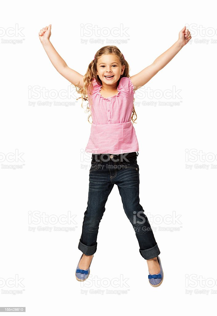 Happy Little Girl Jumping - Isolated stock photo