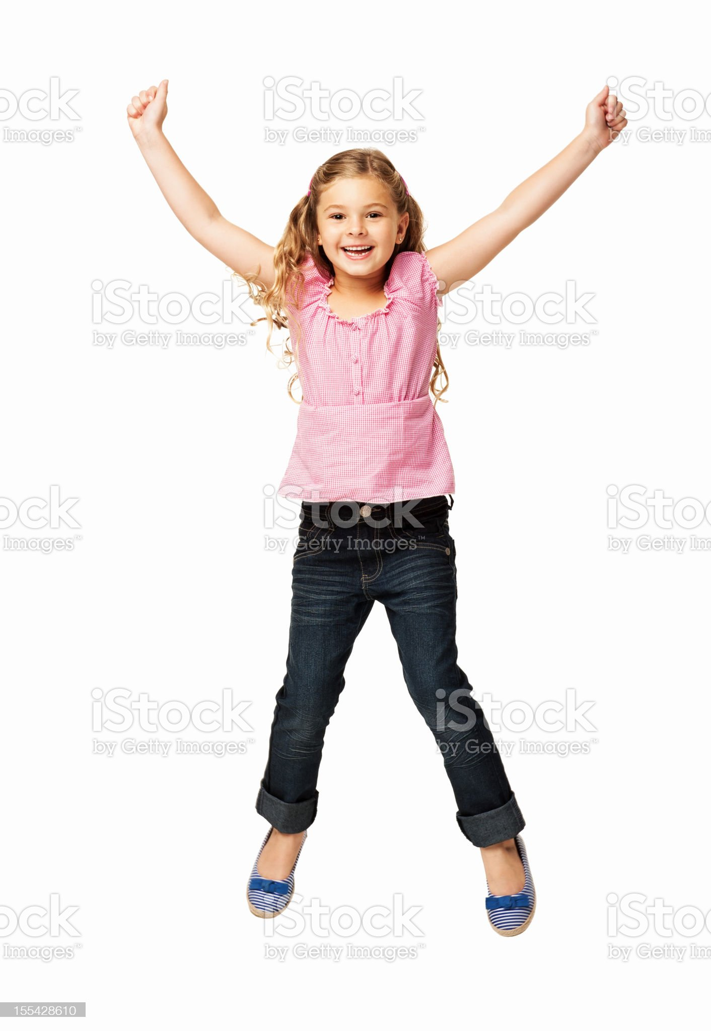 Happy Little Girl Jumping - Isolated royalty-free stock photo