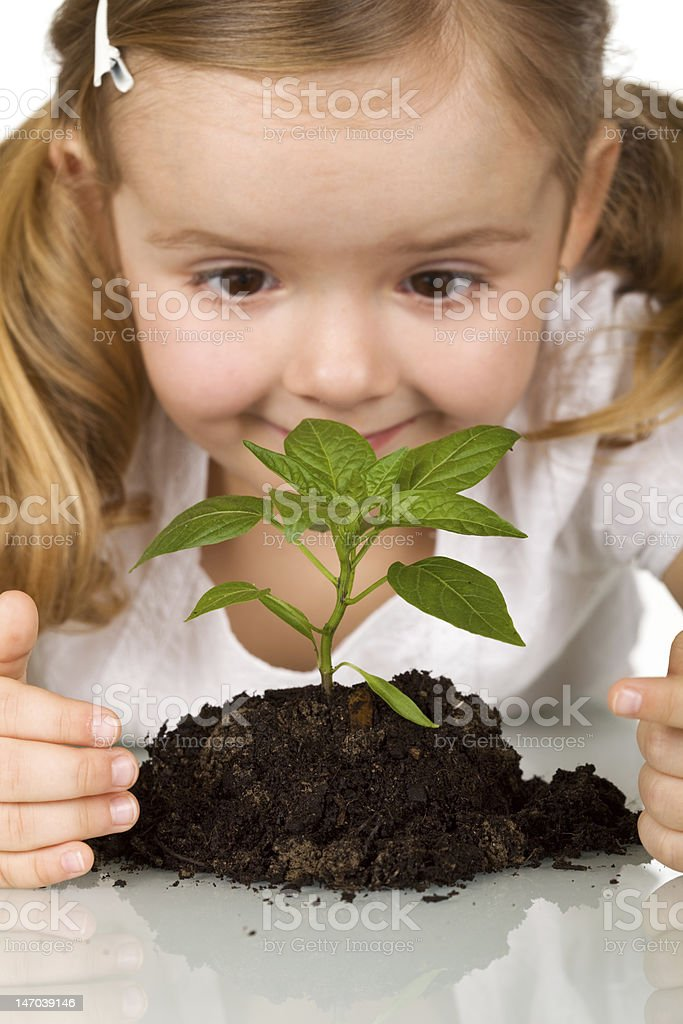 Happy little girl observing young plant royalty-free stock photo