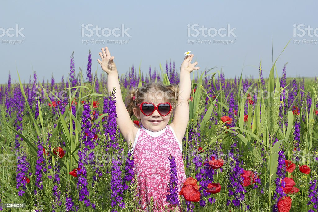 happy little girl standing in colorful meadow stock photo
