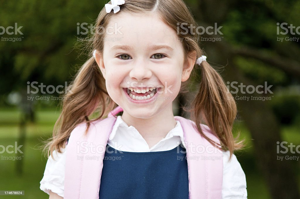 Happy Little Girl Student on First Day of School royalty-free stock photo