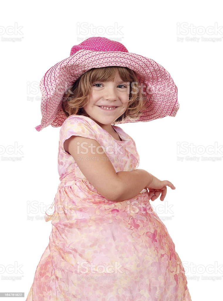 happy little girl with big hat portrait royalty-free stock photo