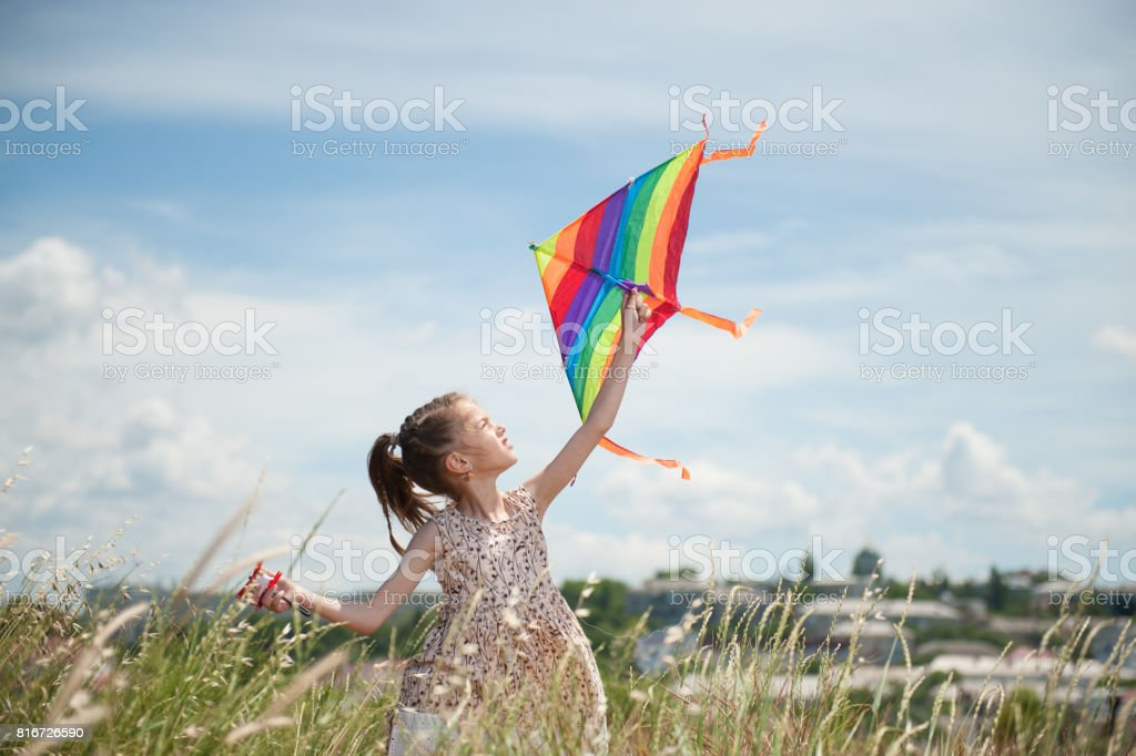 happy little girl with long hair holding kite in the field on summer sunny day stock photo