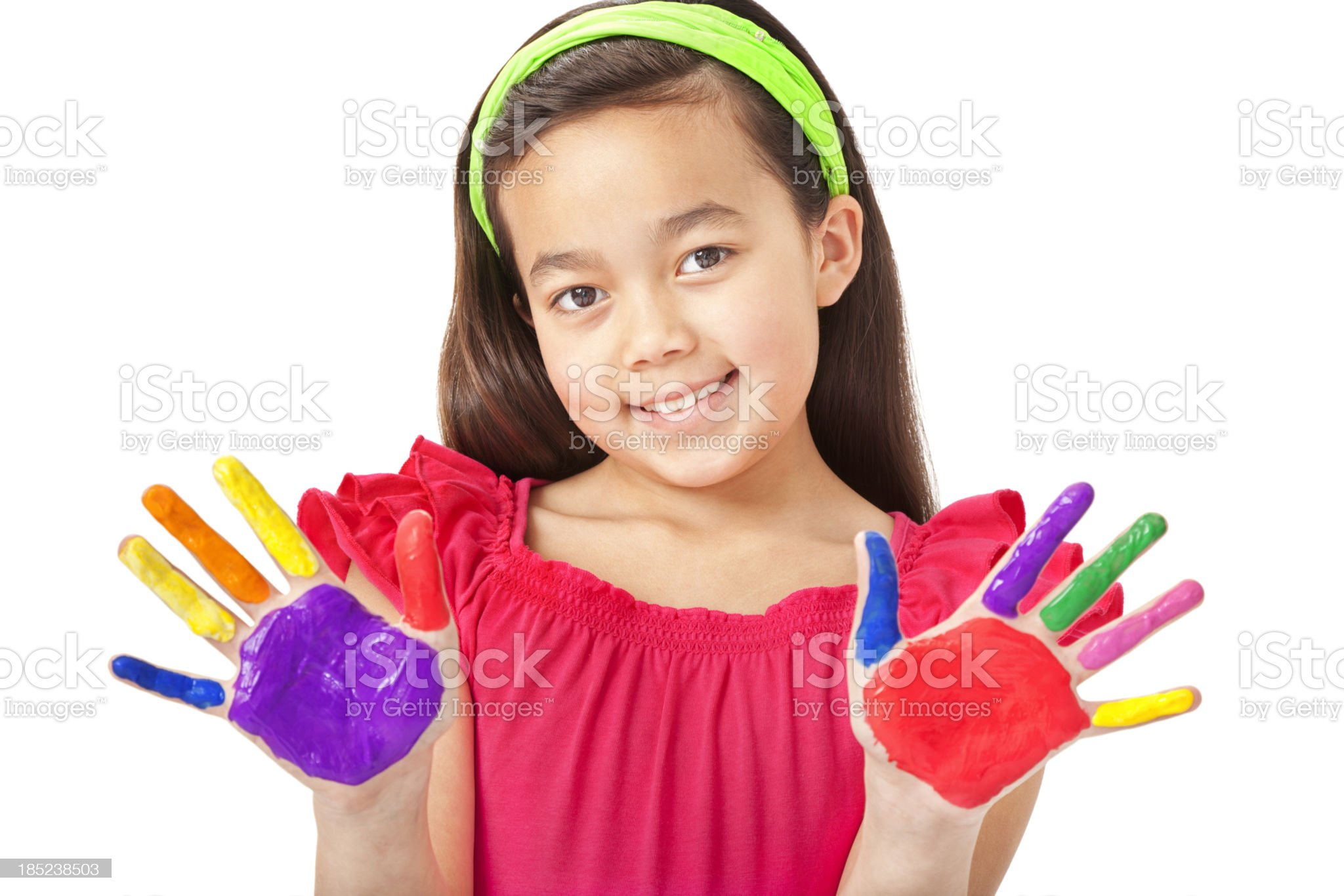 Happy Little Girl With Painted Hands royalty-free stock photo