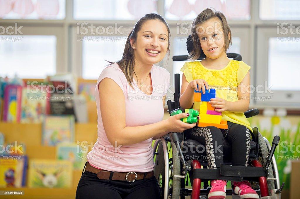 Happy Little Handicap Girl stock photo