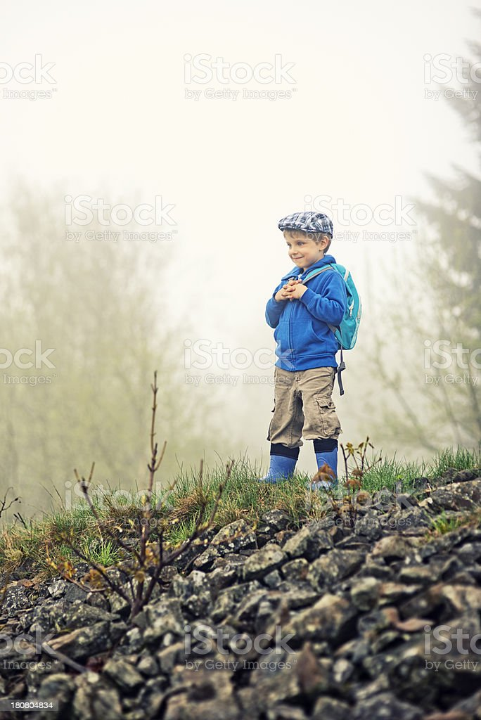 Happy little hiker royalty-free stock photo