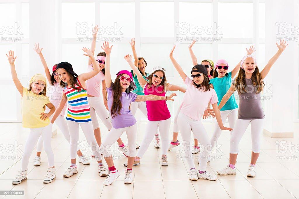 Happy little hip hop dancers. stock photo