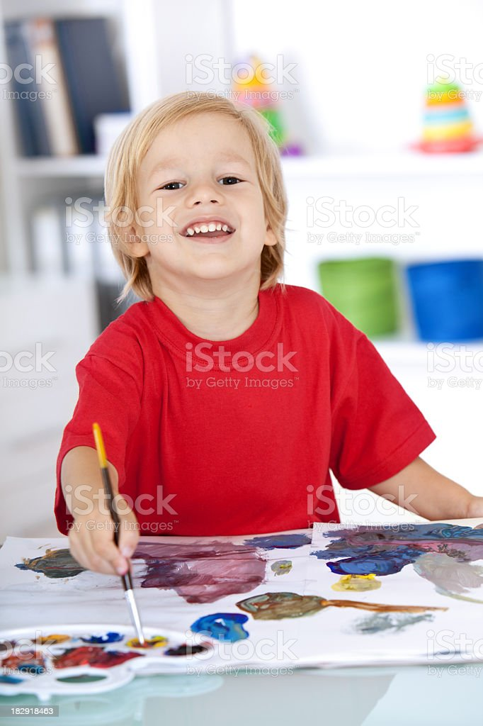 Happy little painter royalty-free stock photo