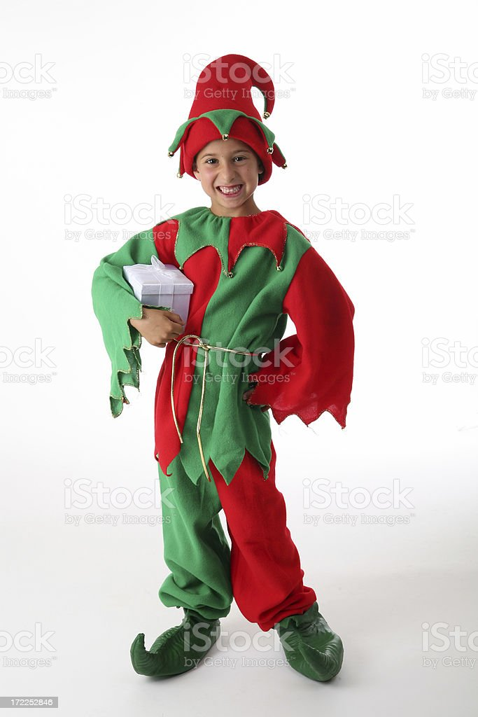 happy little santa helper stock photo