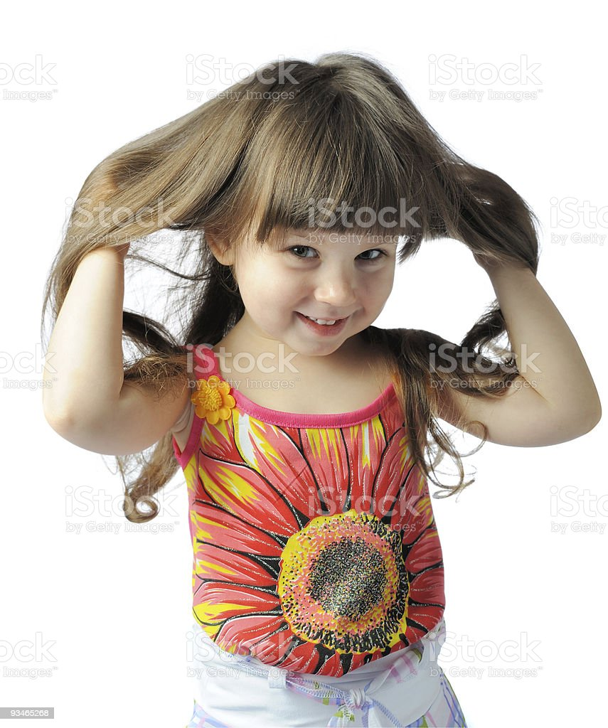 happy little with sumptuous hair royalty-free stock photo