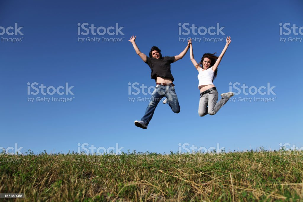 Happy lovers of gravity royalty-free stock photo