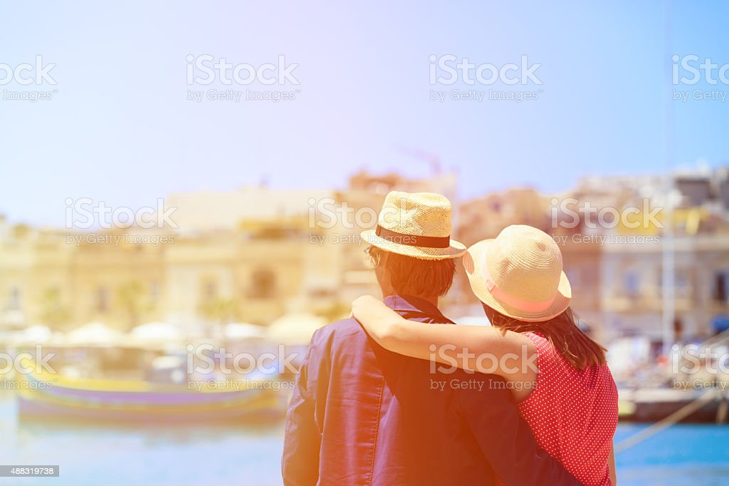 happy loving couple in Malta, europe stock photo