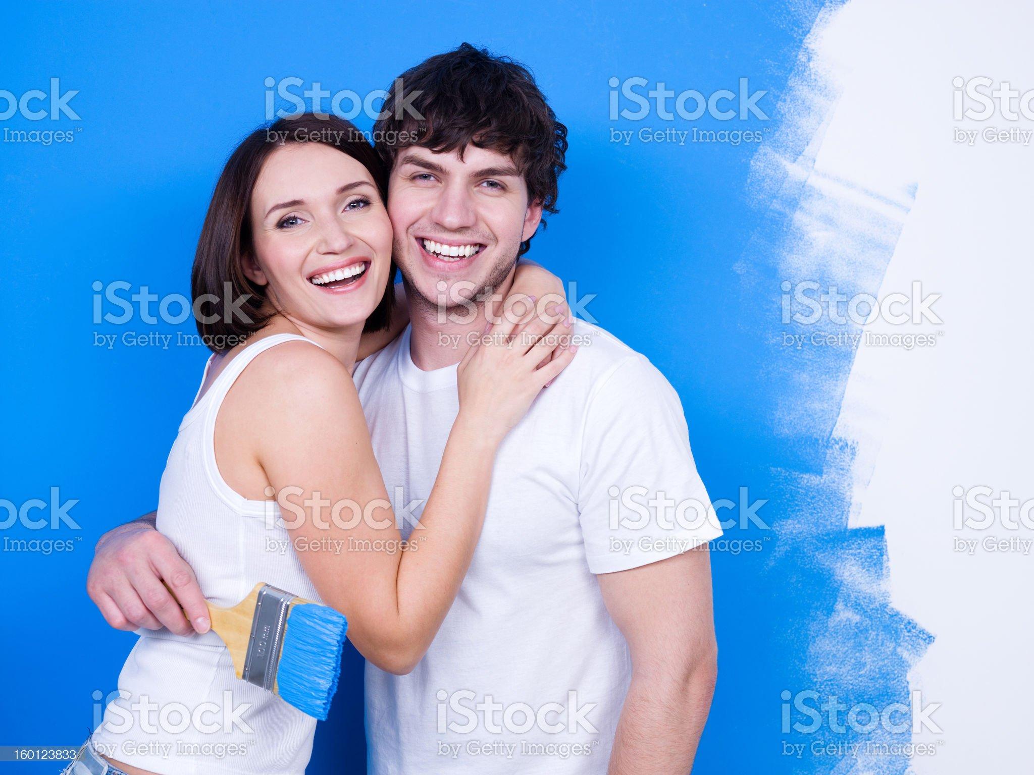 Happy loving couple of painters royalty-free stock photo