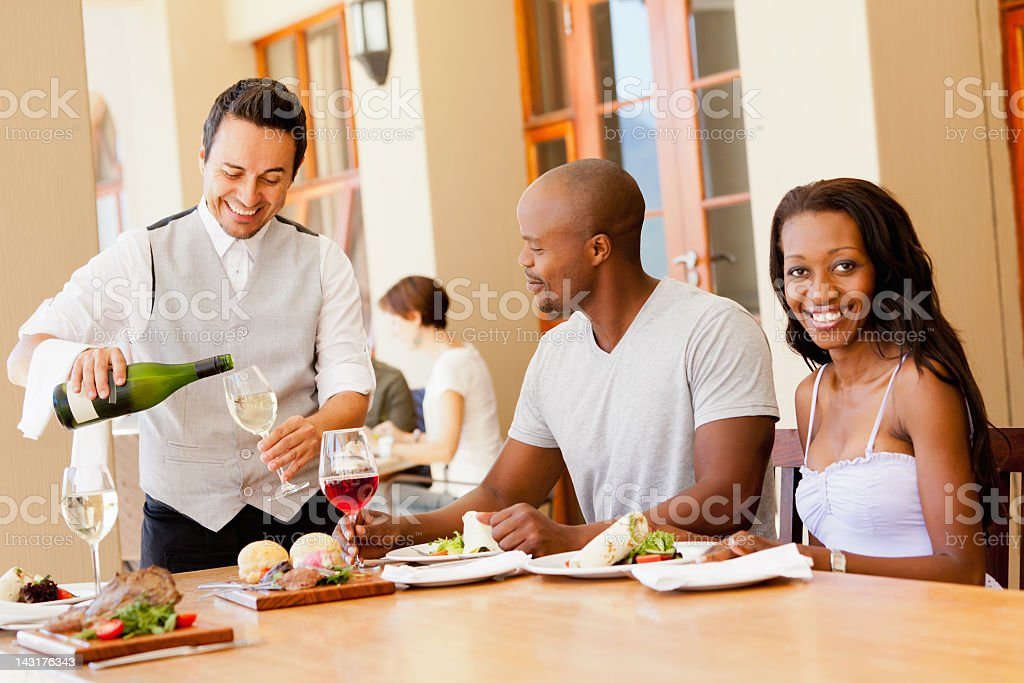 Happy Lunch Young Couple Dining Outdoors royalty-free stock photo