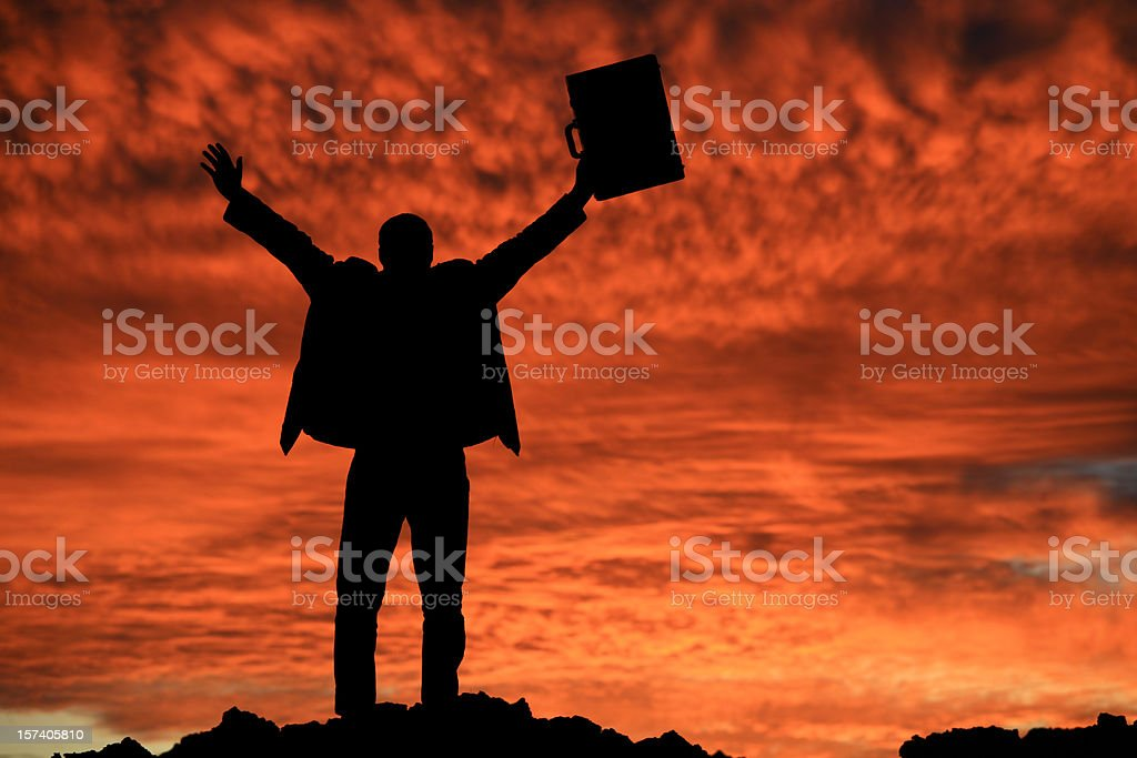 Happy Male Caucasian Businessman Silhouette royalty-free stock photo