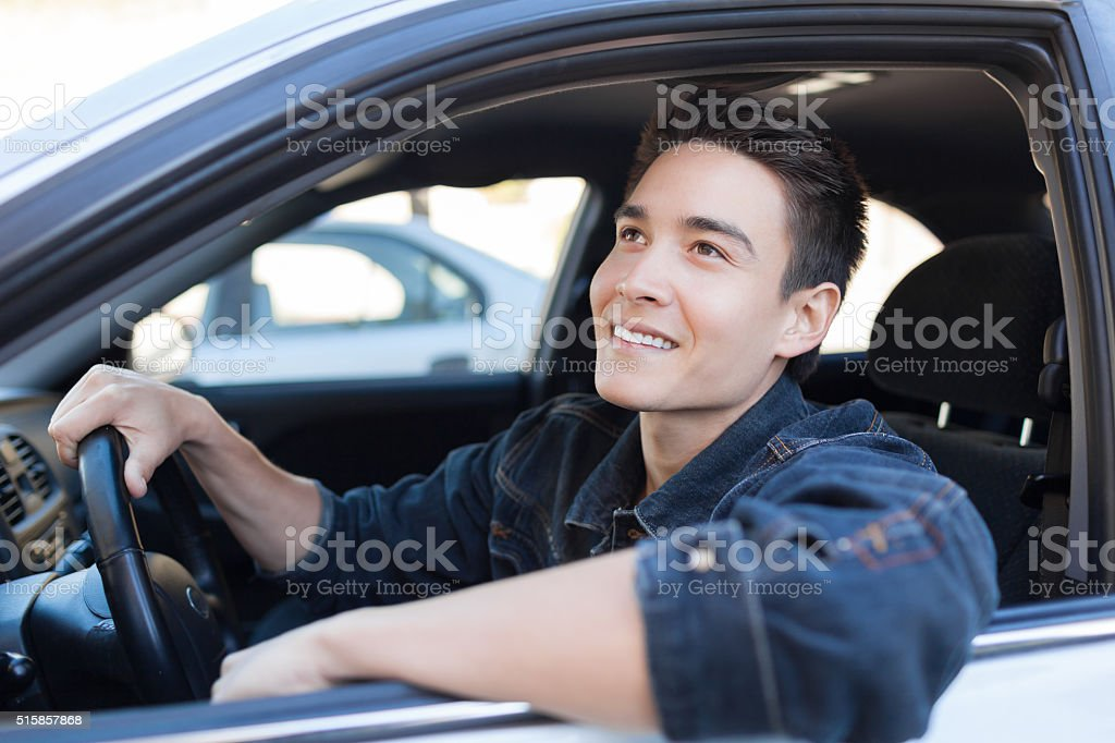Happy male driver stock photo