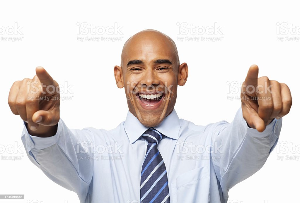 Happy Male Executive Pointing At You - Isolated royalty-free stock photo
