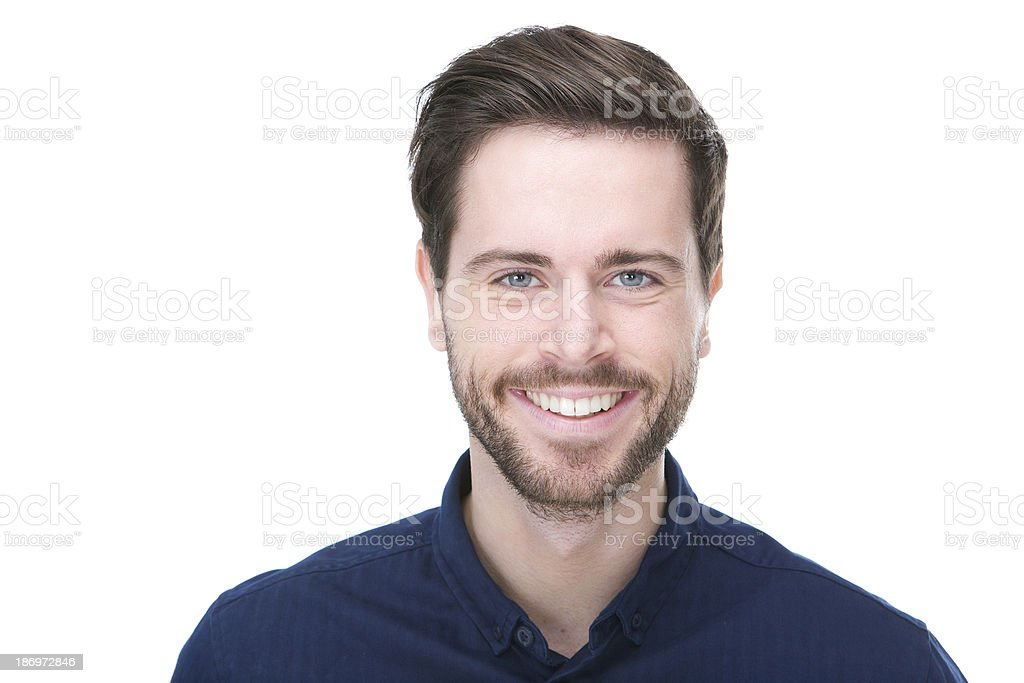 Happy male fashion model smiling stock photo
