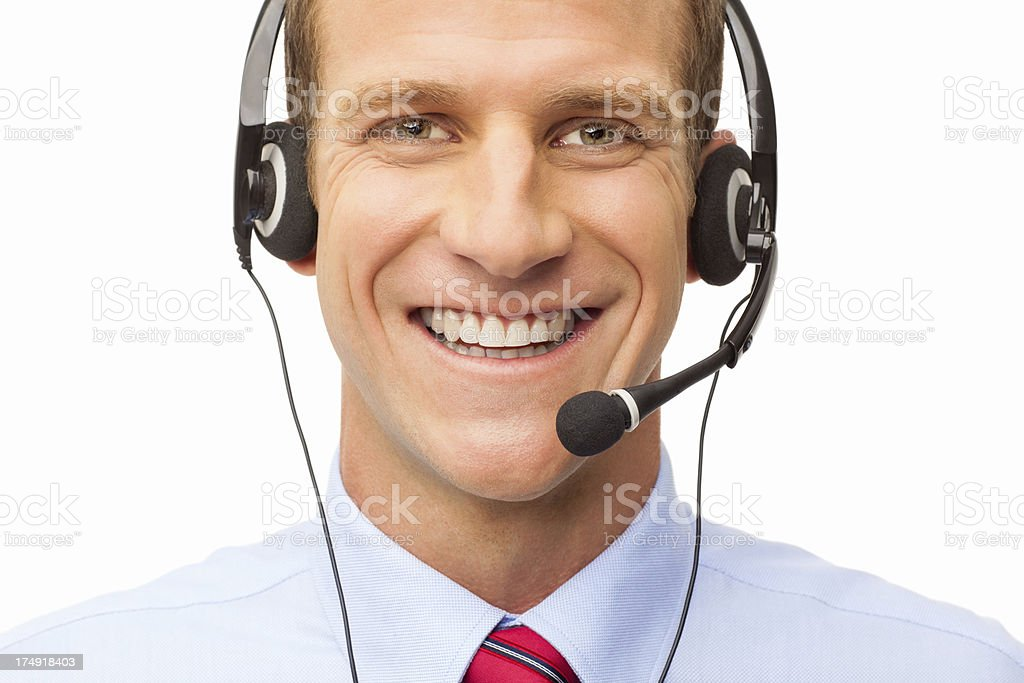 Happy Male IT Technical Support Officer - Isolated royalty-free stock photo