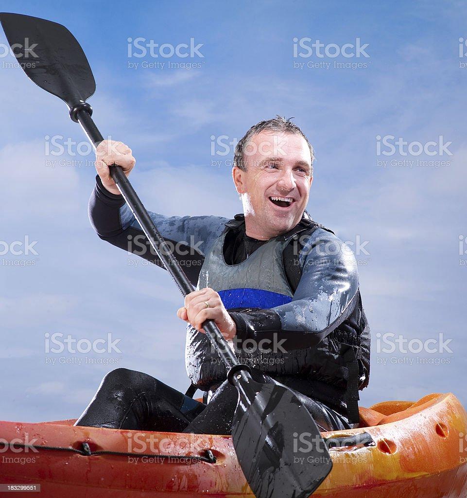 Happy Male Kayaker royalty-free stock photo