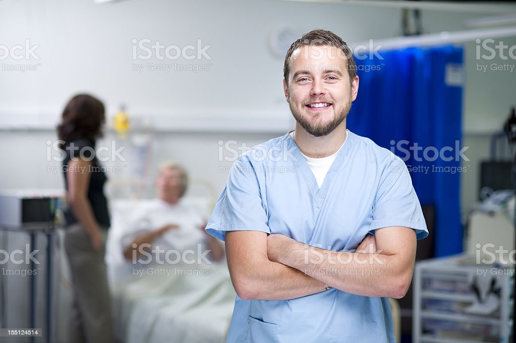 happy male nurse royalty-free stock photo