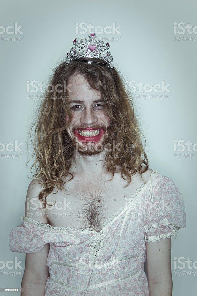Happy Male Prom queen in drag tiara on head lipstick stock photo