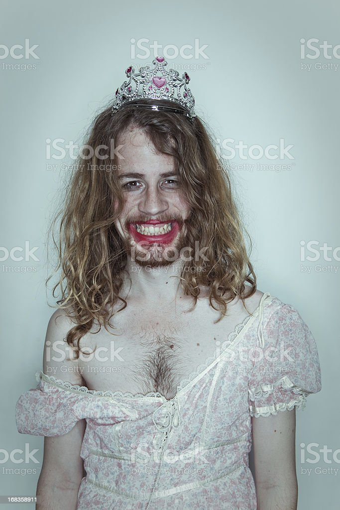 Happy Male Prom queen in drag tiara on head lipstick stock photo