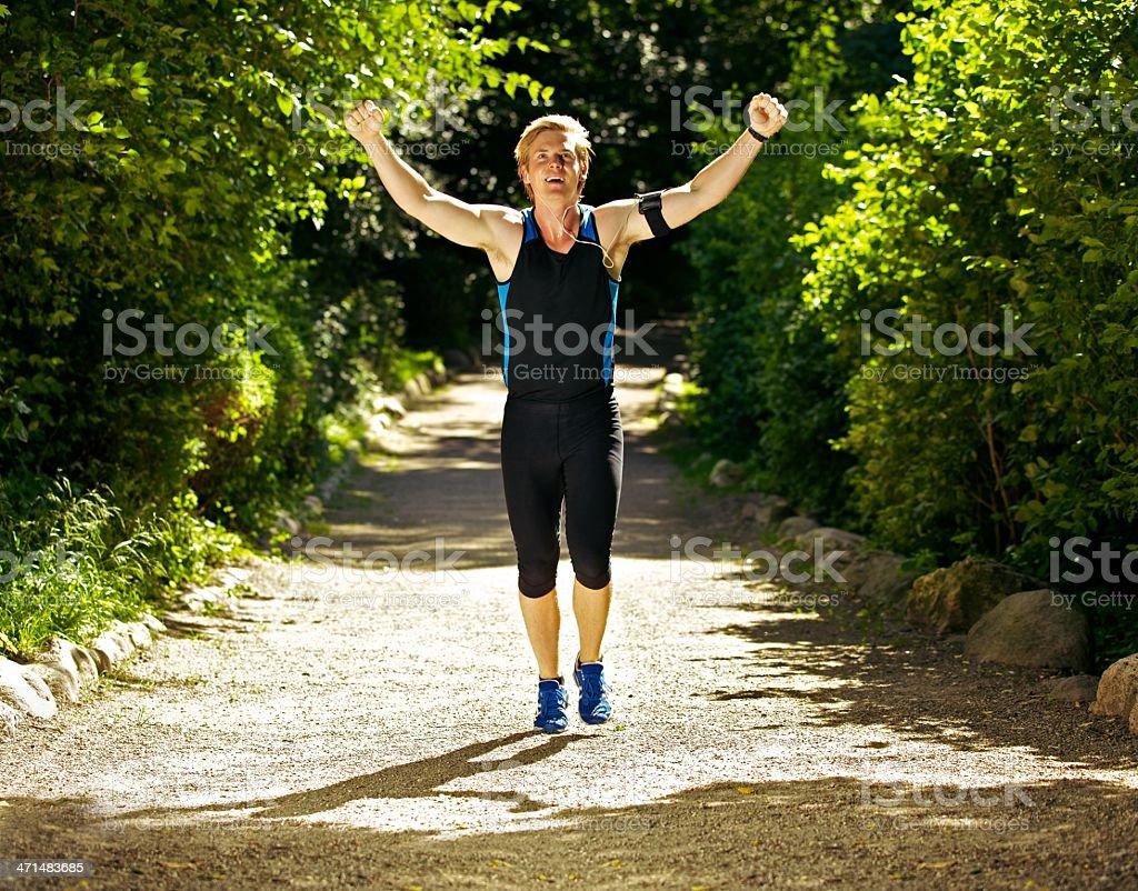 Happy Male Runner stock photo