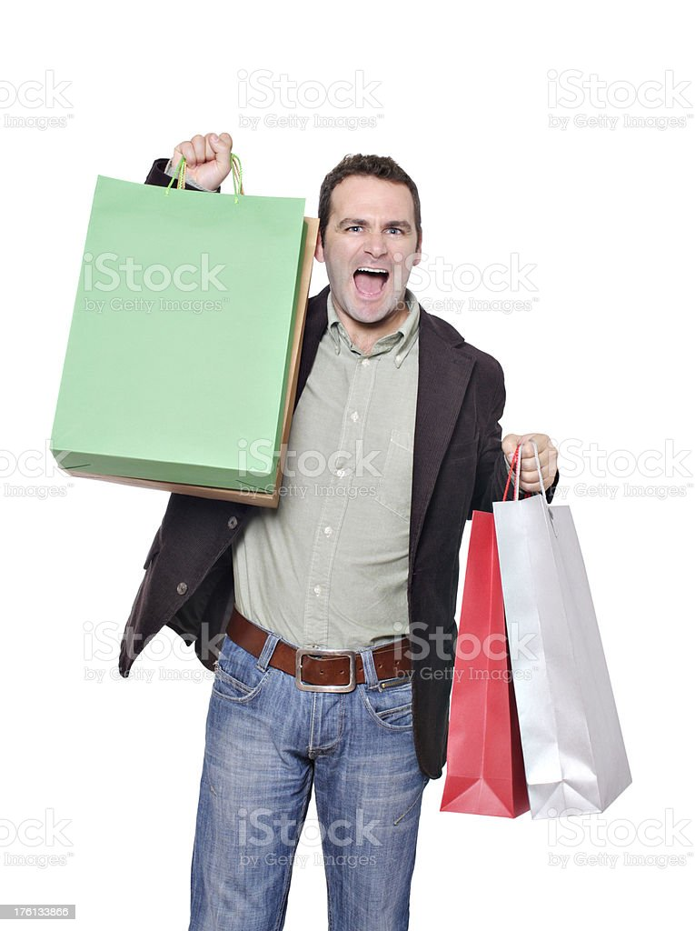 Happy male shopper stock photo