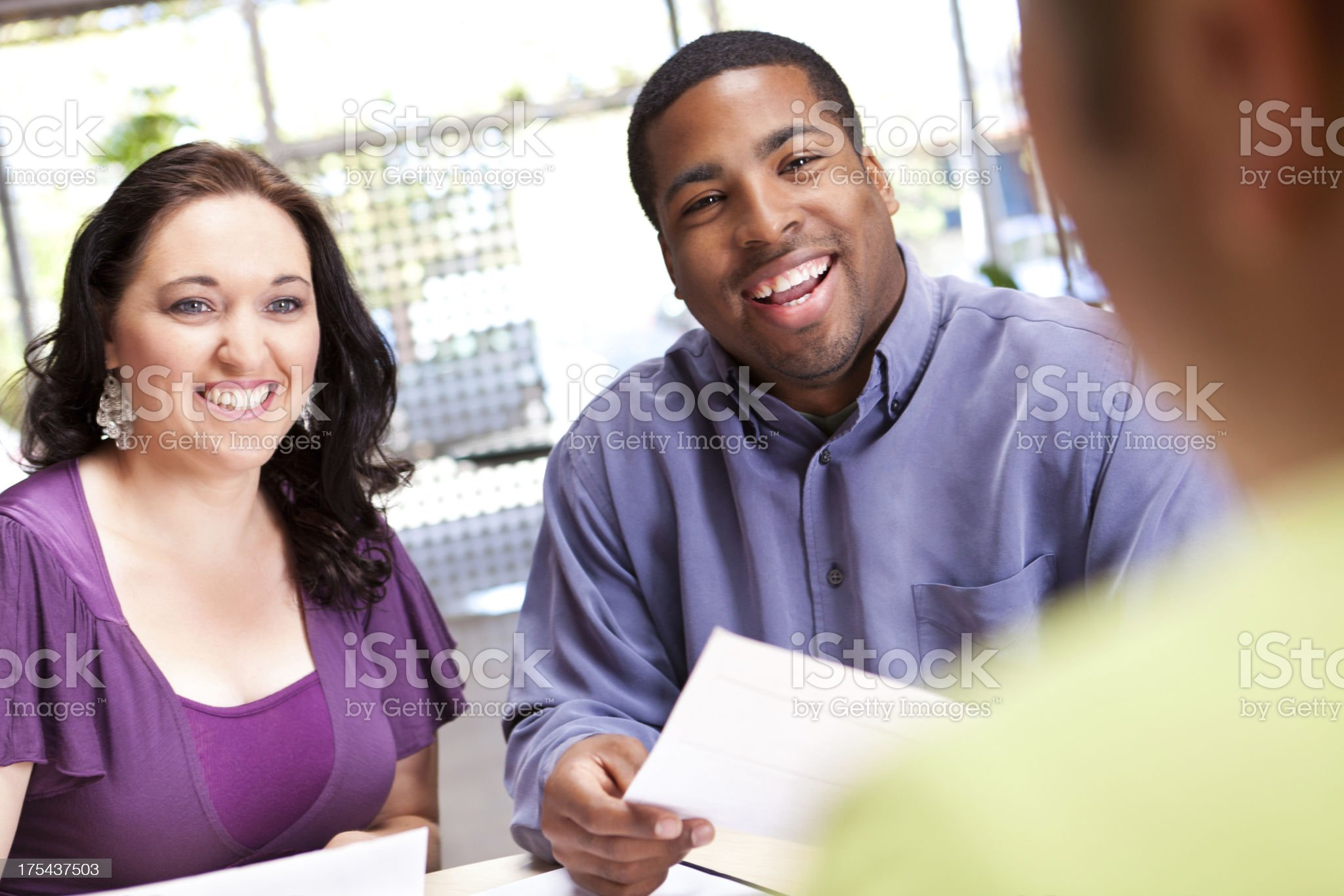Happy man and woman in discussion royalty-free stock photo