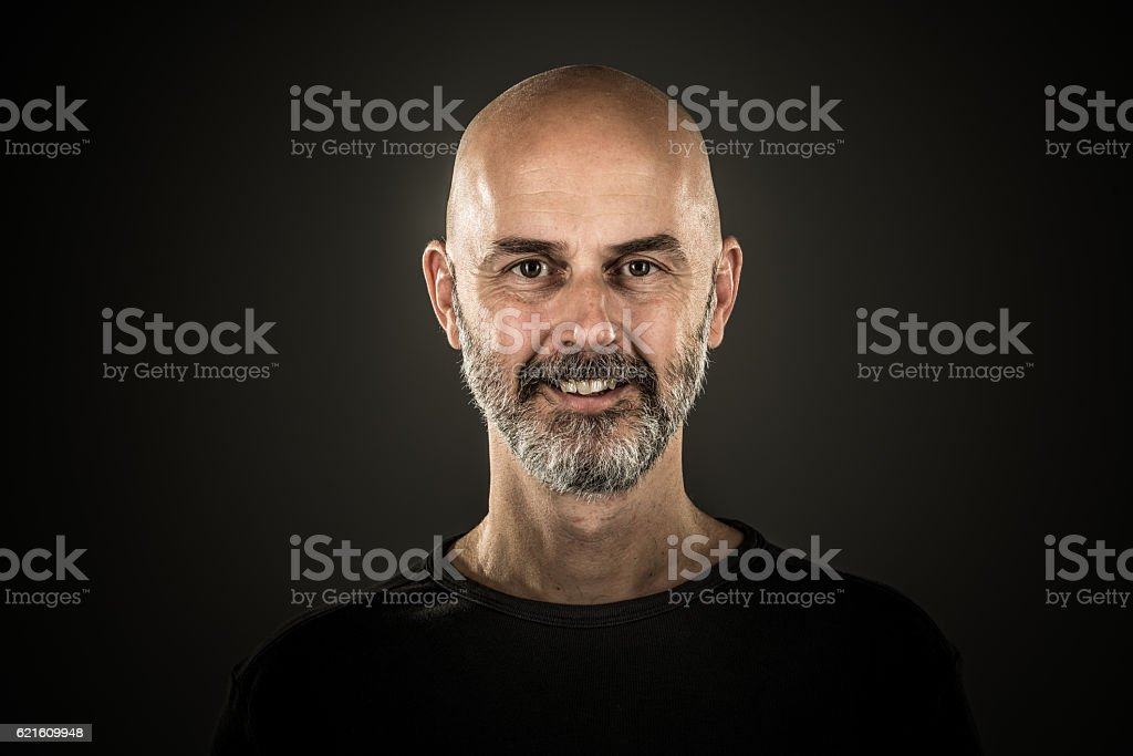happy man bald head stubble beard stock photo