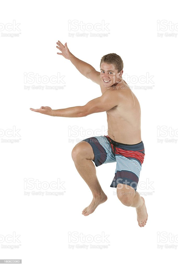 Happy man gesturing in white background royalty-free stock photo