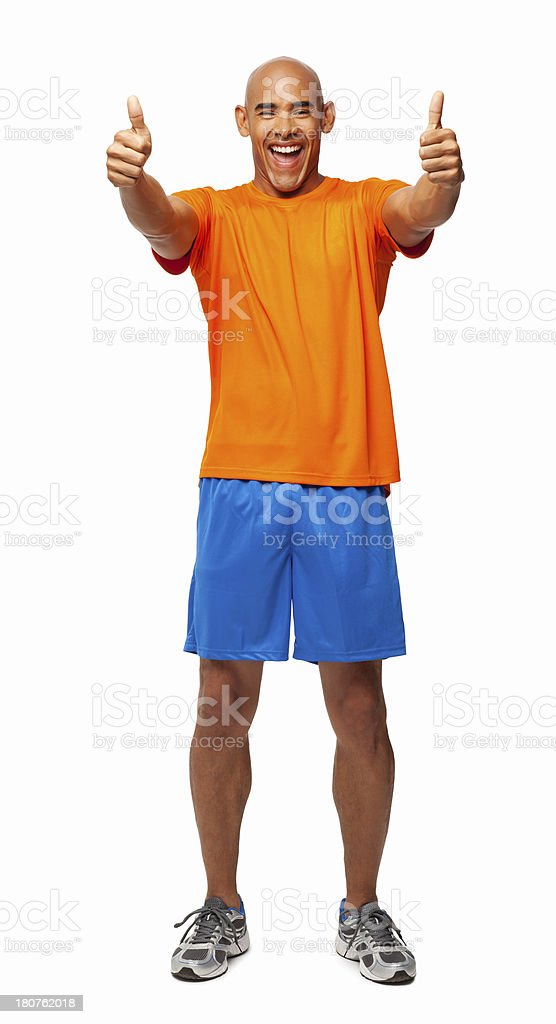 Happy Man Gesturing Thumbs Up - Isolated stock photo