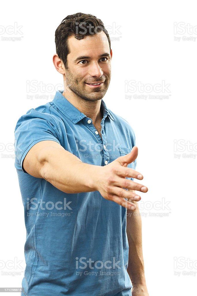 Happy man handshaking stock photo