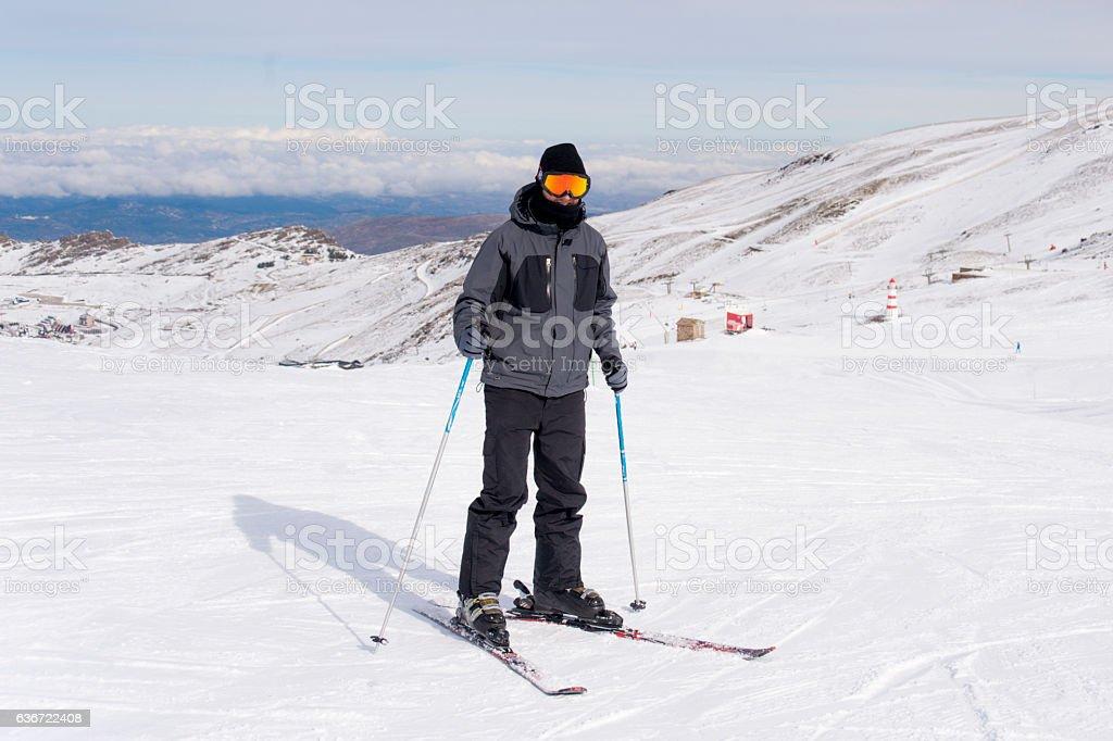 happy man happy in snow mountains at ski resort stock photo