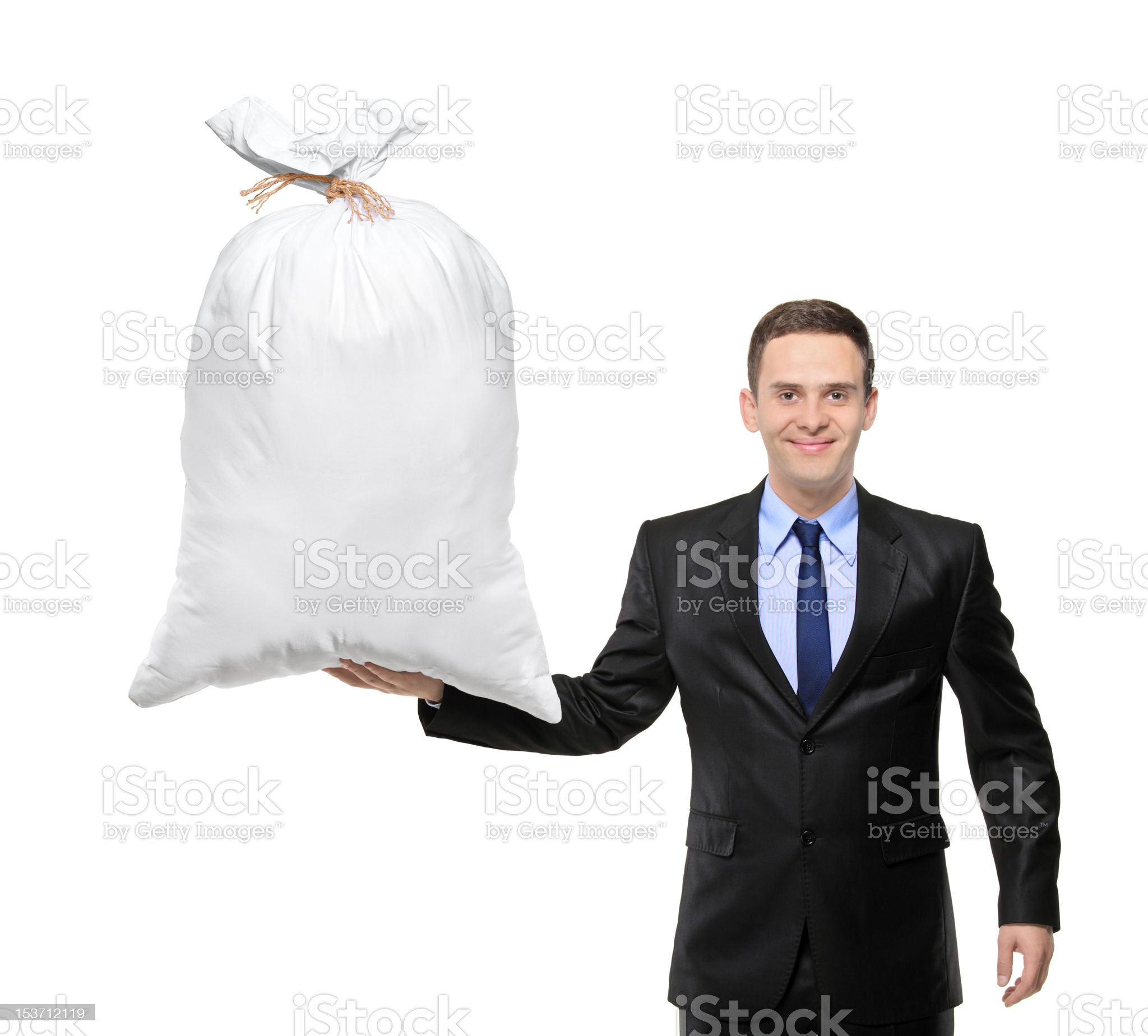 Happy man holding a bag with money royalty-free stock photo