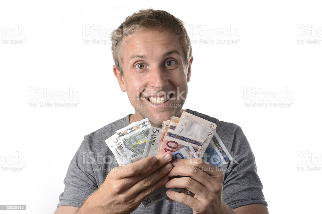 happy man holding banknotes royalty-free stock photo