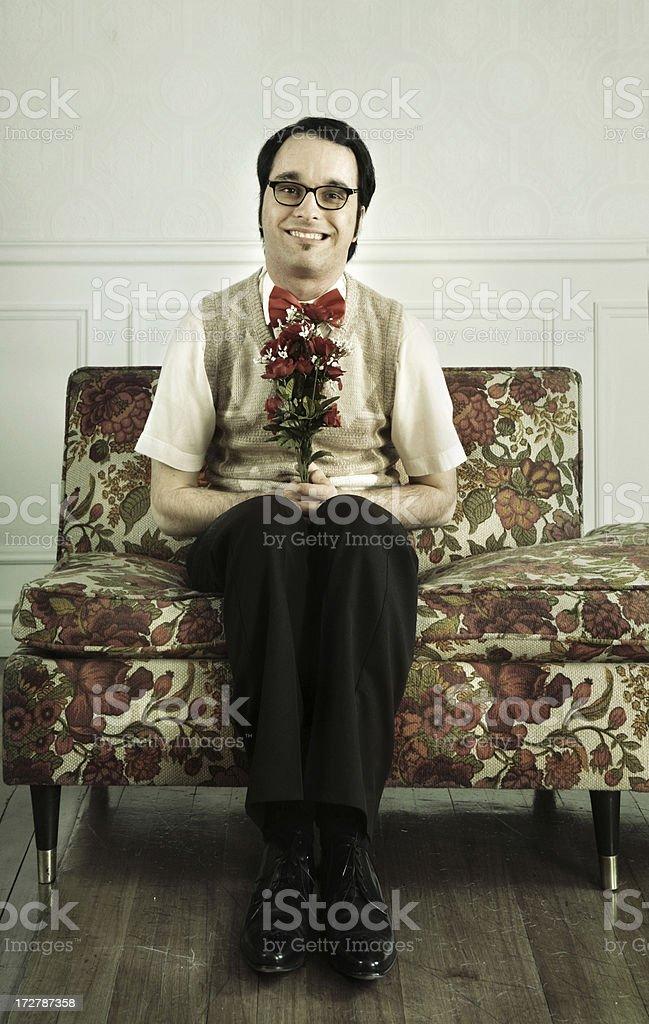 Happy man holding flowers royalty-free stock photo