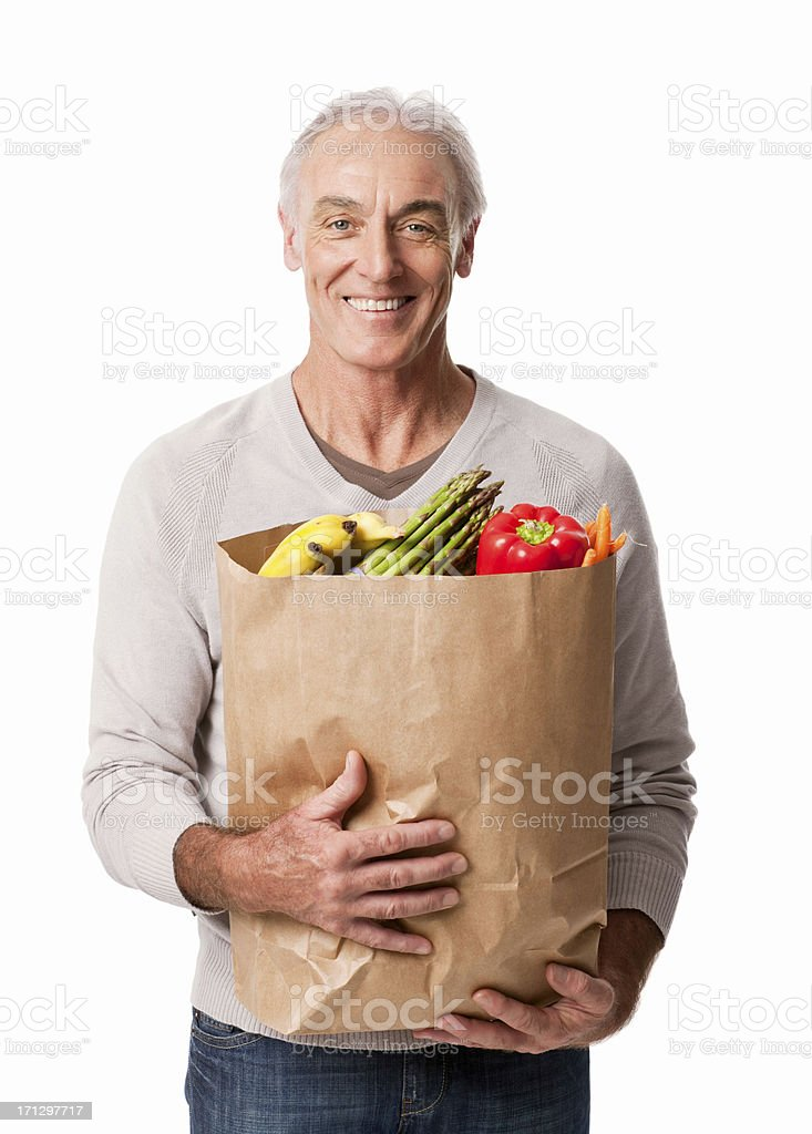 Happy Man Holding Groceries - Isolated royalty-free stock photo