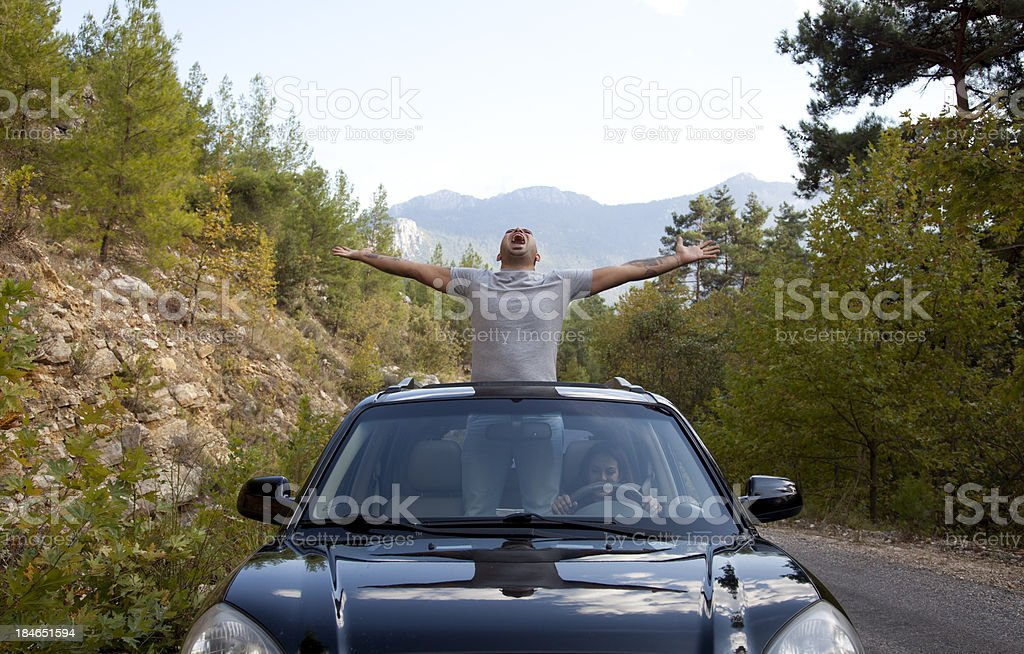 Happy Man in a Car royalty-free stock photo