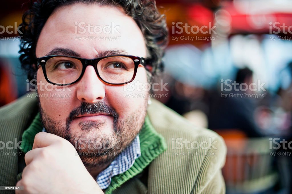 Happy Man in Cafe, Outdoors stock photo