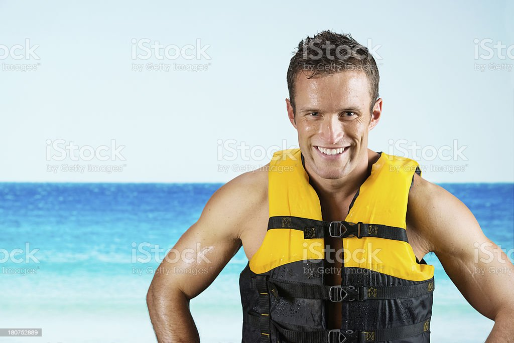Happy man in life jacket royalty-free stock photo