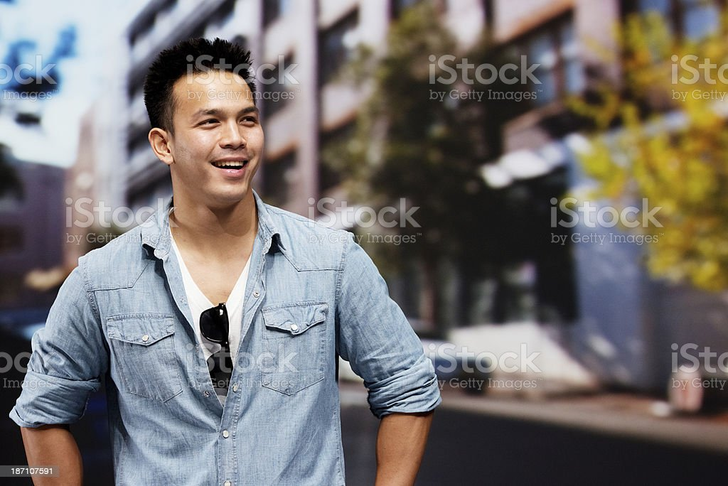 Happy man in outdoors royalty-free stock photo