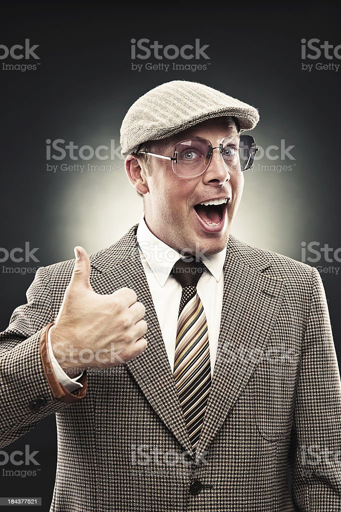 Happy man in retro suit royalty-free stock photo